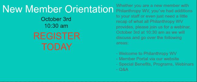 New Member Orientation Webinar
